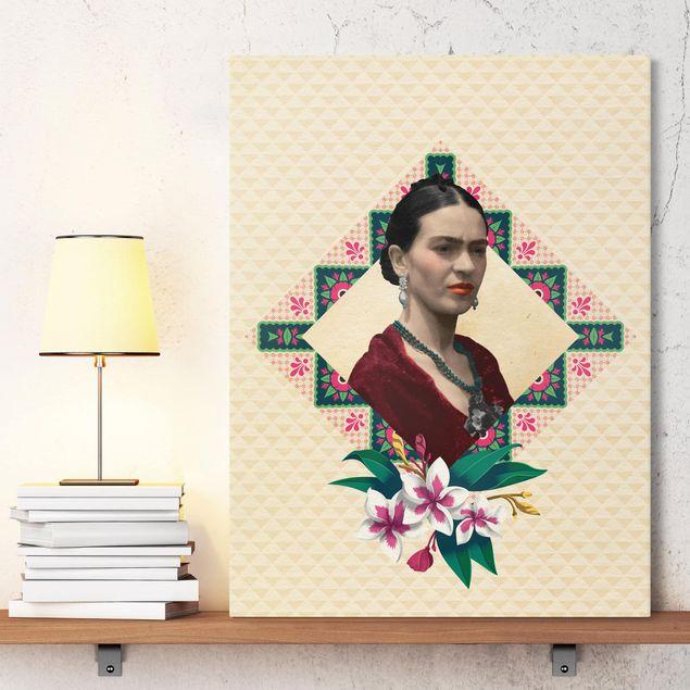 Produktfoto Leinwandbild - Frida Kahlo - Blumen und Geometrie - Hochformat 4:3