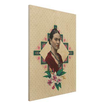Immagine del prodotto Stampa su legno -Frida Kahlo - Flowers And Geometry- Verticale 4:3