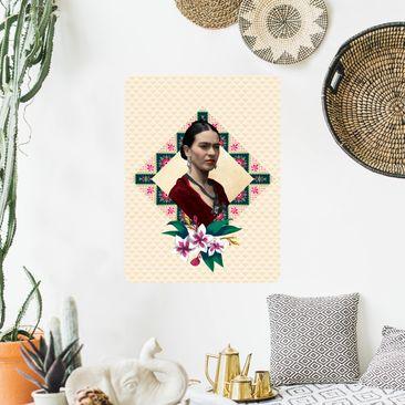 Produktfoto Selbstklebendes Wandbild - Frida Kahlo - Blumen und Geometrie - Hochformat 4:3
