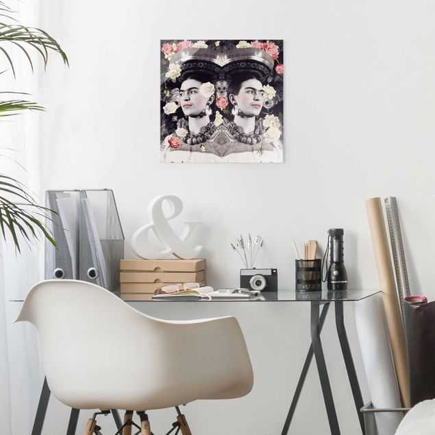 Produktfoto Glasbild - Frida Kahlo - Blumenflut - Quadrat 1:1