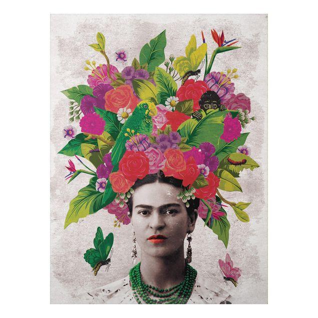 Produktfoto Aluminium Print - Frida Kahlo - Blumenportrait - Hochformat 4:3