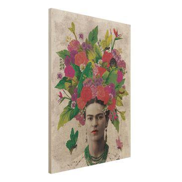 Produktfoto Holzbild -Frida Kahlo - Blumenportrait- Hochformat 4:3