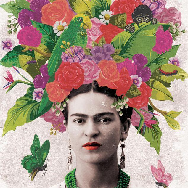 Produktfoto Selbstklebendes Wandbild - Frida Kahlo - Blumenportrait - Hochformat 4:3