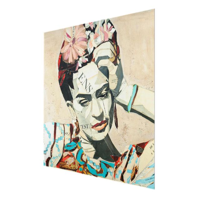 Produktfoto Glasbild - Frida Kahlo - Collage No.1 - Quadrat 1:1