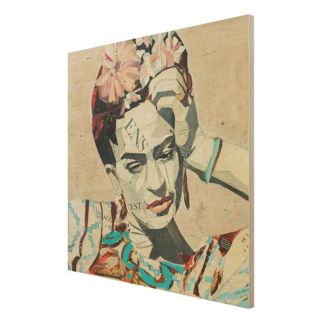 Produktfoto Holzbild -Frida Kahlo - Collage No.1- Quadrat 1:1