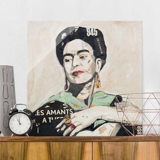 Produktfoto Glasbild - Frida Kahlo - Collage No.4 - Quadrat 1:1