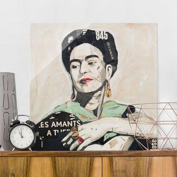 Produktfoto Glasbild - Frida Kahlo - Collage No.4 - Quadrat 1:1
