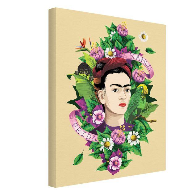 Produktfoto Leinwandbild - Frida Kahlo - Frida, Äffchen und Papagei - Hochformat 4:3