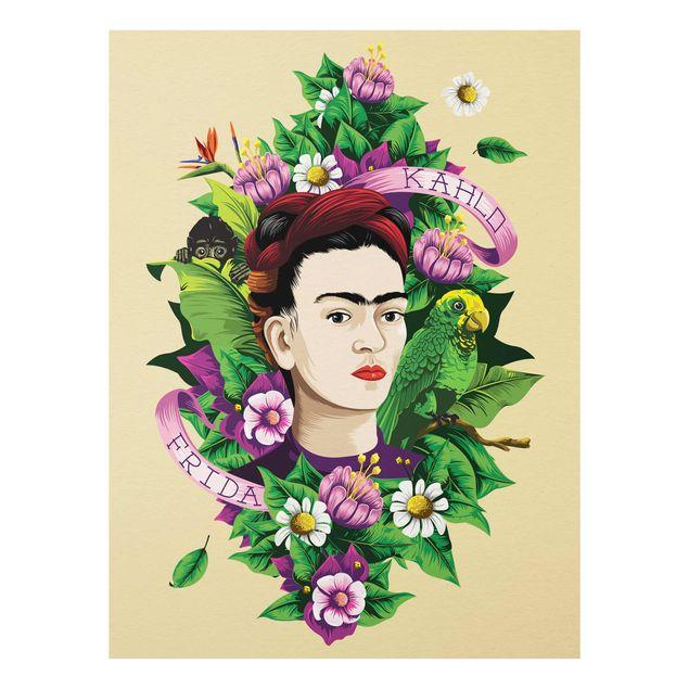 Produktfoto Glasbild - Frida Kahlo - Frida, Äffchen und Papagei - Hochformat 4:3