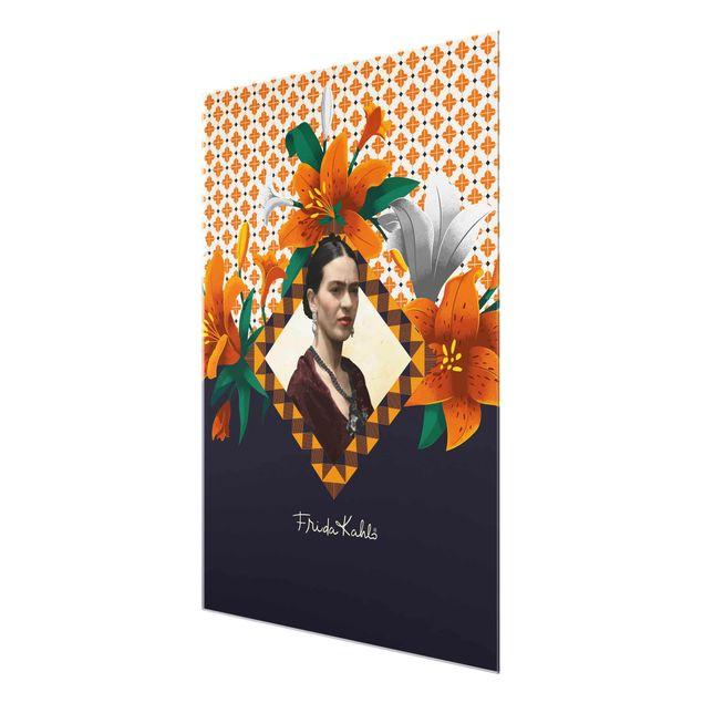 Produktfoto Glasbild - Frida Kahlo - Lilien - Hochformat 4:3