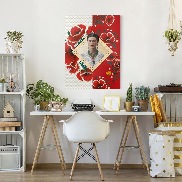 Produktfoto Leinwandbild - Frida Kahlo - Mohnblüten - Hochformat 4:3