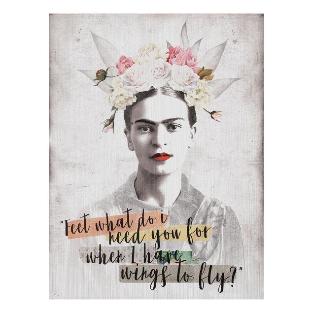 Produktfoto Aluminium Print gebürstet - Frida Kahlo - Quote - Hochformat 4:3