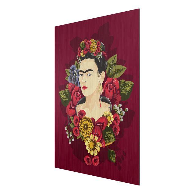 Produktfoto Aluminium Print gebürstet - Frida Kahlo - Rosen - Hochformat 4:3