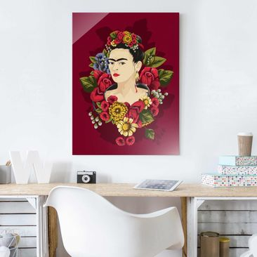 Product picture Print on Glass - Frida Kahlo - Roses -...