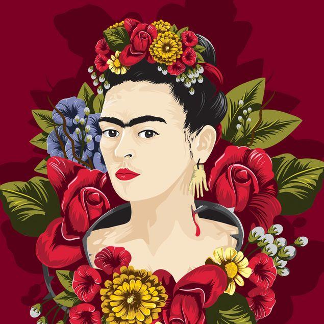Produktfoto Selbstklebendes Wandbild - Frida Kahlo - Rosen - Hochformat 3:2