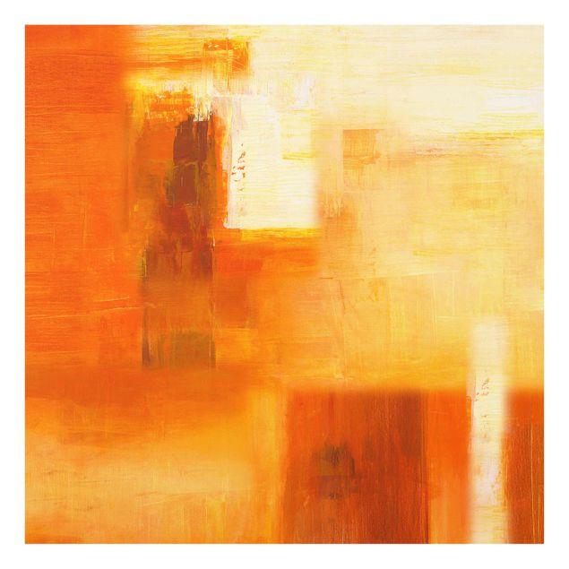 Produktfoto Glasbild - Petra Schüßler - Komposition in Orange und Braun 02 - Quadrat 1:1