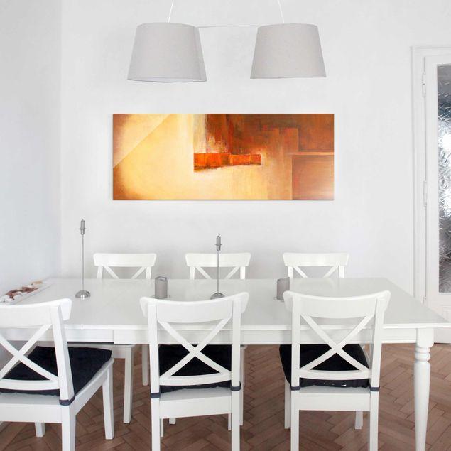 Produktfoto Glasbild - Petra Schüßler - Balance Orange Braun - Panorama