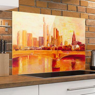 Produktfoto Spritzschutz Glas - Petra Schüßler - Skyline Frankfurt - Querformat 2:3