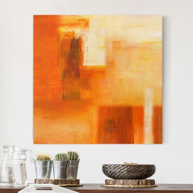 Produktfoto Leinwandbild - Petra Schüßler - Komposition in Orange und Braun 02 - Quadrat 1:1