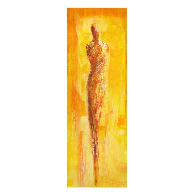 Produktfoto Leinwandbild - Petra Schüßler - Figur in Gelb - Panorama Hochformat 3:1