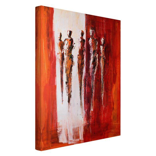 Produktfoto Leinwandbild - Petra Schüßler - Fünf Figuren in Rot 01 - Hochformat 3:2