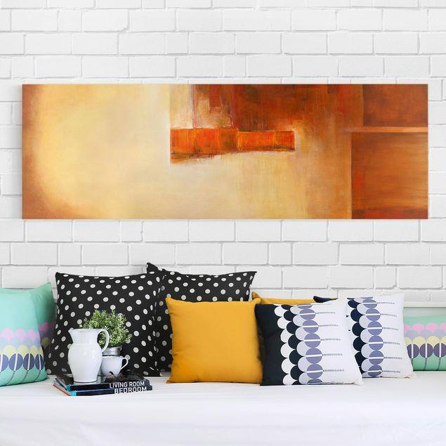 Produktfoto Leinwandbild - Petra Schüßler - Balance Orange Braun - Panorama 1:3