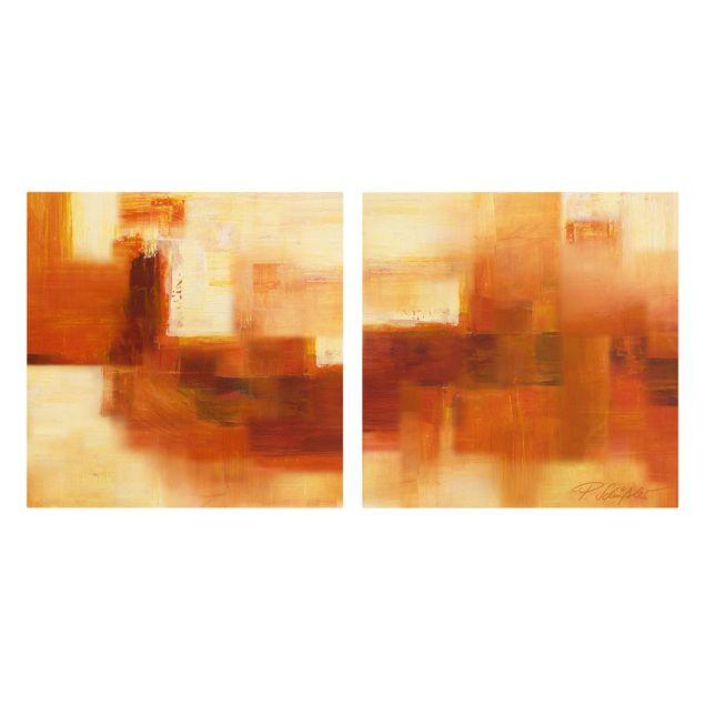 Produktfoto Leinwandbild 2-teilig - Petra Schüßler - Komposition in Orange und Braun - Quadrate 1:1