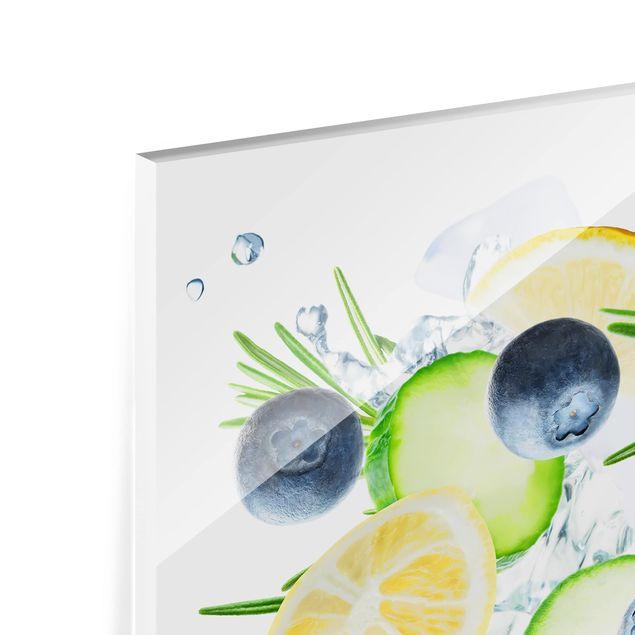 Produktfoto Spritzschutz Glas - Blaubeeren Zitronen Eiswürfel Spash - Querformat 3:4
