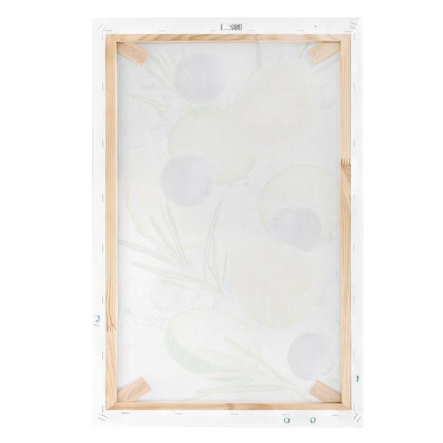 Produktfoto Leinwandbild - Blaubeeren Zitronen Eiswürfel Spash - Hochformat 3:2