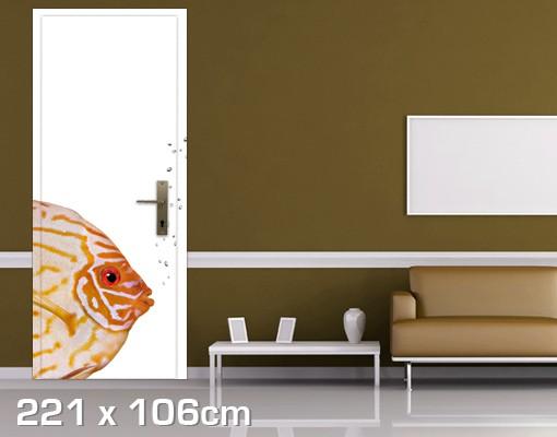 Produktfoto Türtapete Unterwasser - Diskusfisch - selbstklebend