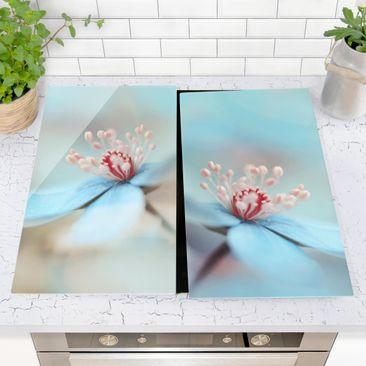 Immagine del prodotto Coprifornelli in vetro - Flowers In Light Blue - 52x60cm