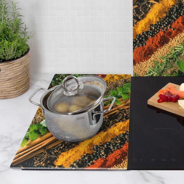Produktfoto Herdabdeckplatte Glas - Gewürzstreifen - 52x60cm, Anwendungsbeispiel, Artikelnummer 228359-XWAF