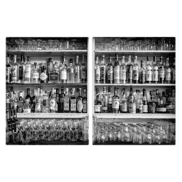 Produktfoto Herdabdeckplatte Glas - Bar Schwarz Weiß - 52x80cm, Frontalansicht, Artikelnummer 228432-FF