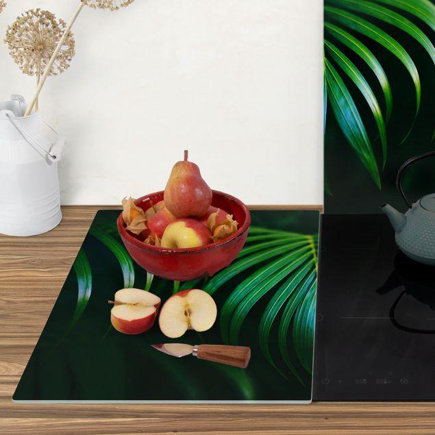 Produktfoto Herdabdeckplatte Glas - Palmenwedel - 52x80cm, Anwendungsbeispiel, Artikelnummer -XWAF
