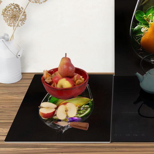 Produktfoto Herdabdeckplatte Glas - Aromen im Weinglas - 52x80cm, Anwendungsbeispiel, Artikelnummer -XWAF