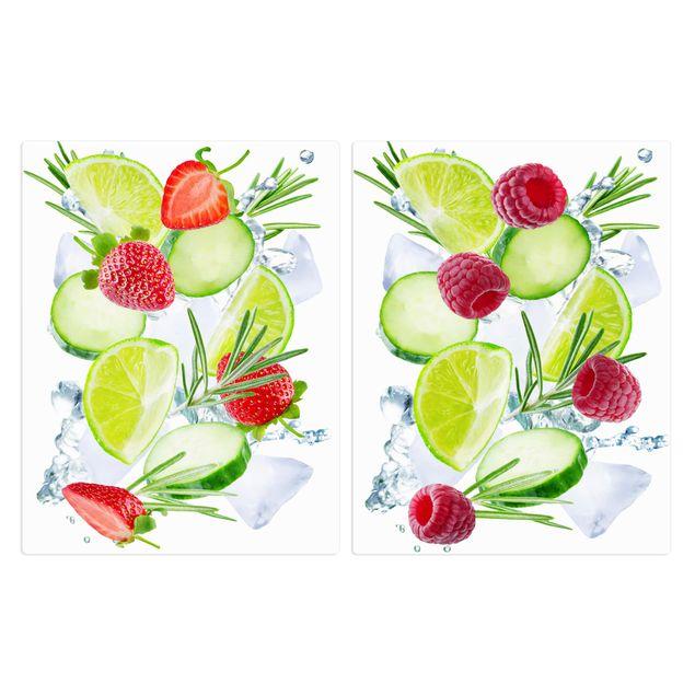 Produktfoto Herdabdeckplatte Glas - Beeren und Gurken Eiswürfel Splash - 52x80cm, Frontalansicht, Artikelnummer -FF