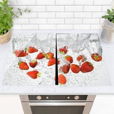 Immagine del prodotto Coprifornelli in vetro - Fresh Strawberries In Water - 52x80cm