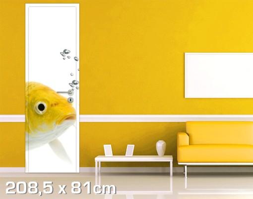Produktfoto Türtapete Unterwasser - Goldfisch Gelb - selbstklebend