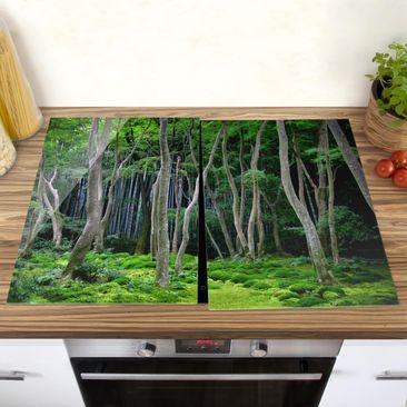Produktfoto Herdabdeckplatte Glas - Japanischer Wald - 52x80cm, vergrößerte Ansicht in Wohnambiente, Artikelnummer -XWA