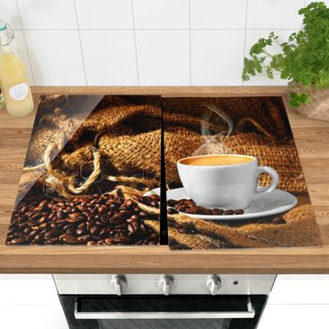 Product picture Glass hob cover - Morning Coffee -...