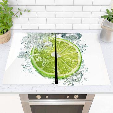 Produktfoto Herdabdeckplatte Glas - Lime Bubbles - 52x80cm, vergrößerte Ansicht in Wohnambiente, Artikelnummer -XWA