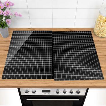 Produktfoto Herdabdeckplatte Glas - Mosaikfliesen Schwarz Matt - 52x80cm, vergrößerte Ansicht in Wohnambiente, Artikelnummer -XWA