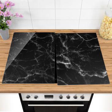 Produktfoto Herdabdeckplatte Glas - Nero Carrara - 52x80cm, vergrößerte Ansicht in Wohnambiente, Artikelnummer -XWA