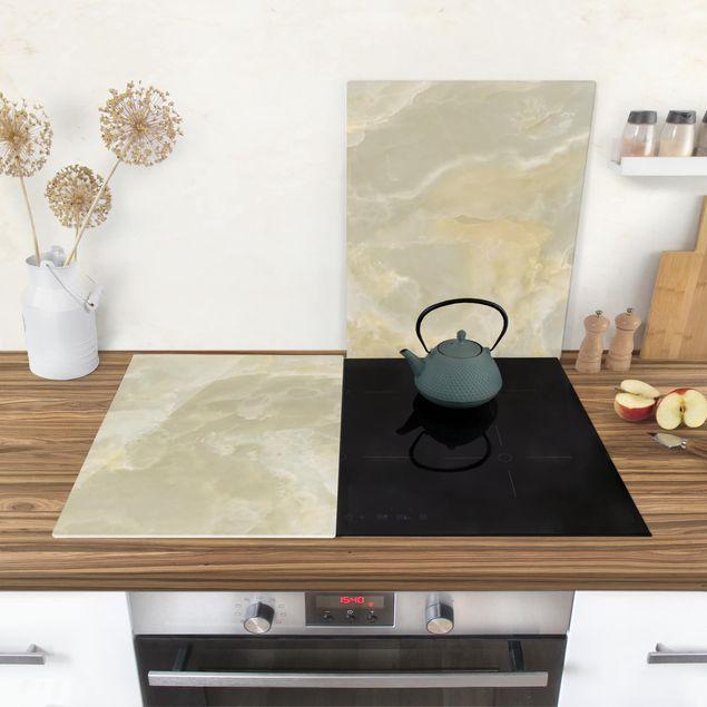 Produktfoto Herdabdeckplatte Glas - Onyx Marmor Creme - 52x80cm, in Wohnambiente, Artikelnummer -WA