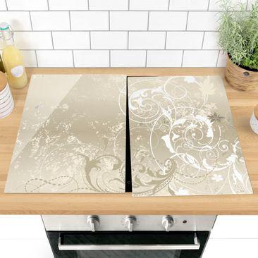 Produktfoto Herdabdeckplatte Glas - Perlmutt Ornament Design - 52x80cm, vergrößerte Ansicht in Wohnambiente, Artikelnummer -XWA