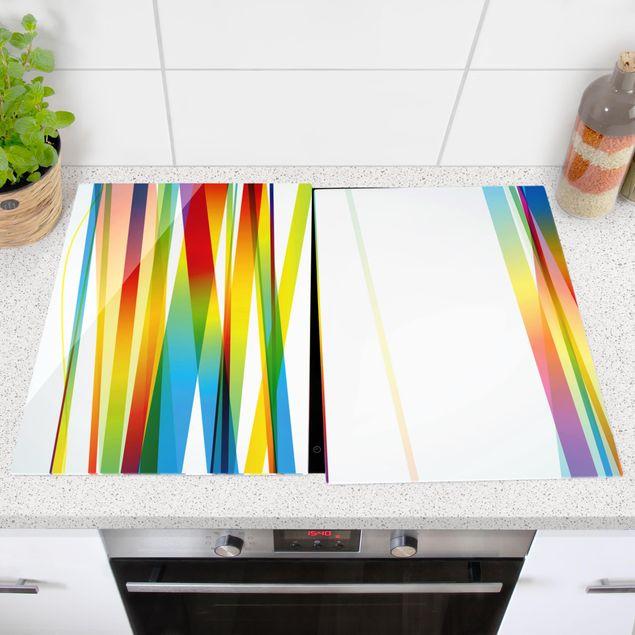 Produktfoto Herdabdeckplatte Glas - Rainbow Stripes - 52x80cm, vergrößerte Ansicht in Wohnambiente, Artikelnummer -XWA
