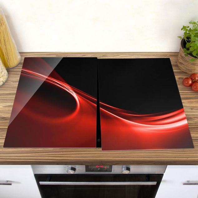 Produktfoto Herdabdeckplatte Glas - Red Wave - 52x80cm, vergrößerte Ansicht in Wohnambiente, Artikelnummer -XWA