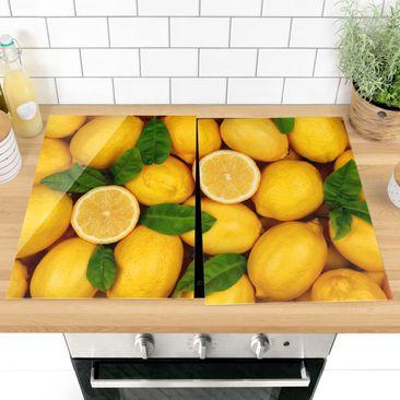 Produktfoto Herdabdeckplatte Glas - Saftige Zitronen - 52x80cm, vergrößerte Ansicht in Wohnambiente, Artikelnummer -XWA