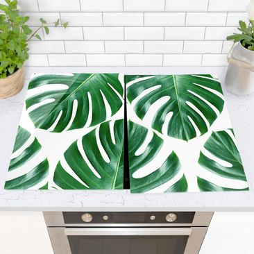 Immagine del prodotto Coprifornelli in vetro - Tropical Green Leaves Monstera - 52x80cm