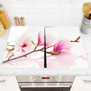 Product picture Glass hob cover - Delicate Magnolia...